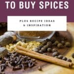 """Dried spices on a board with purple box saying """"the right way to buy spices""""."""