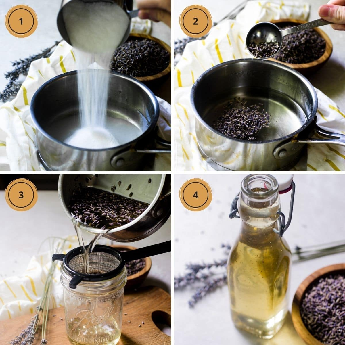 Four pictures showing the steps for making lavender simple syrup.