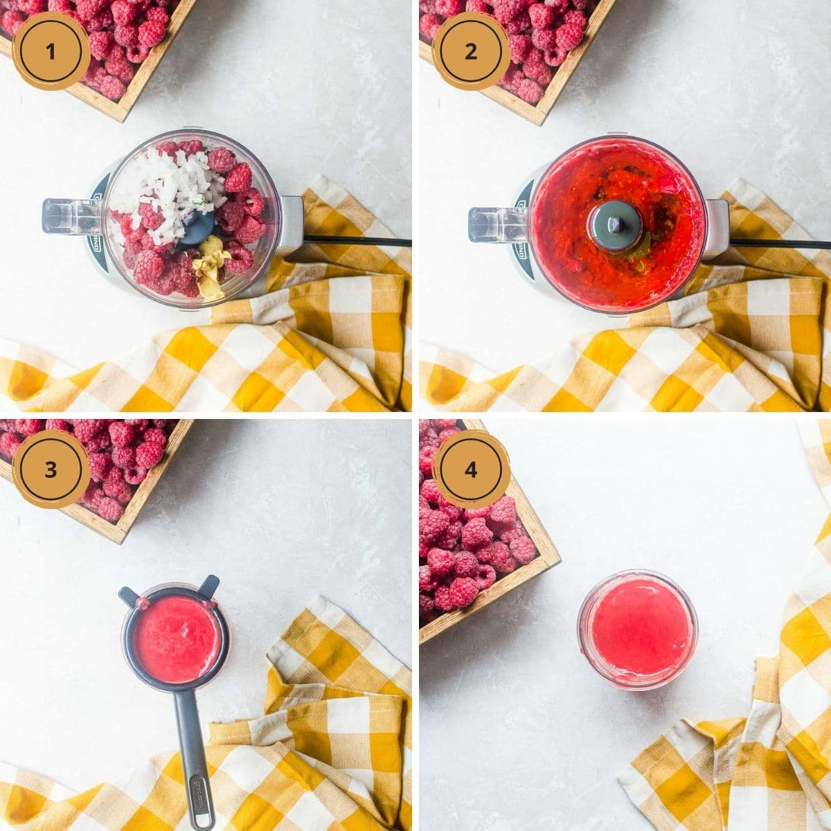 Four images showing the steps to make raspberry vinaigrette dressing.