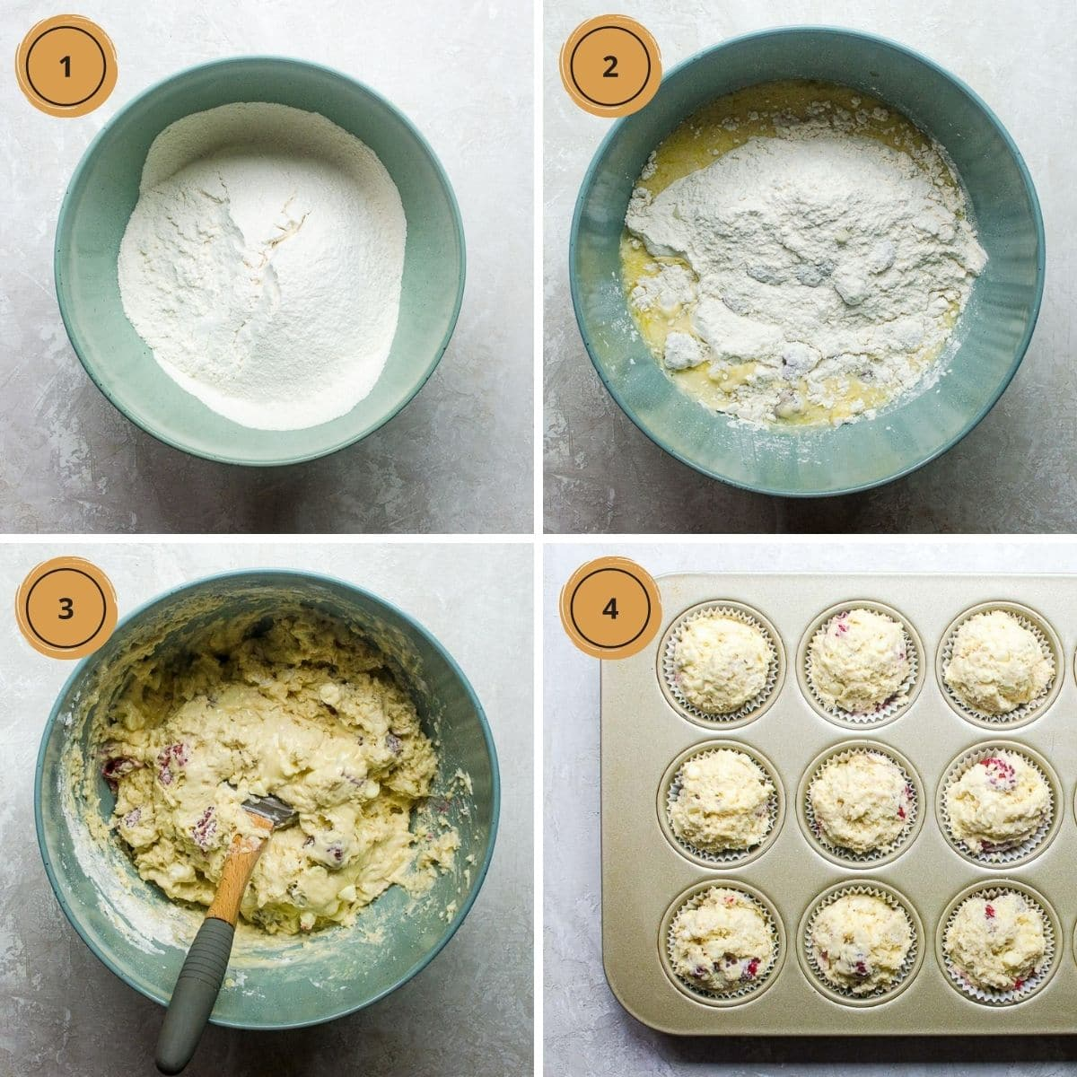 Four numbered steps for making raspberry white chocolate muffins.